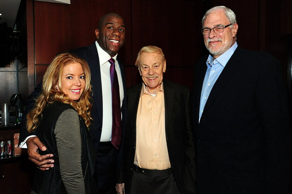 "Jeanie Buss, Earvin ""Magic"" Johnson, Dr. Jerry Buss and Phil Jackson"