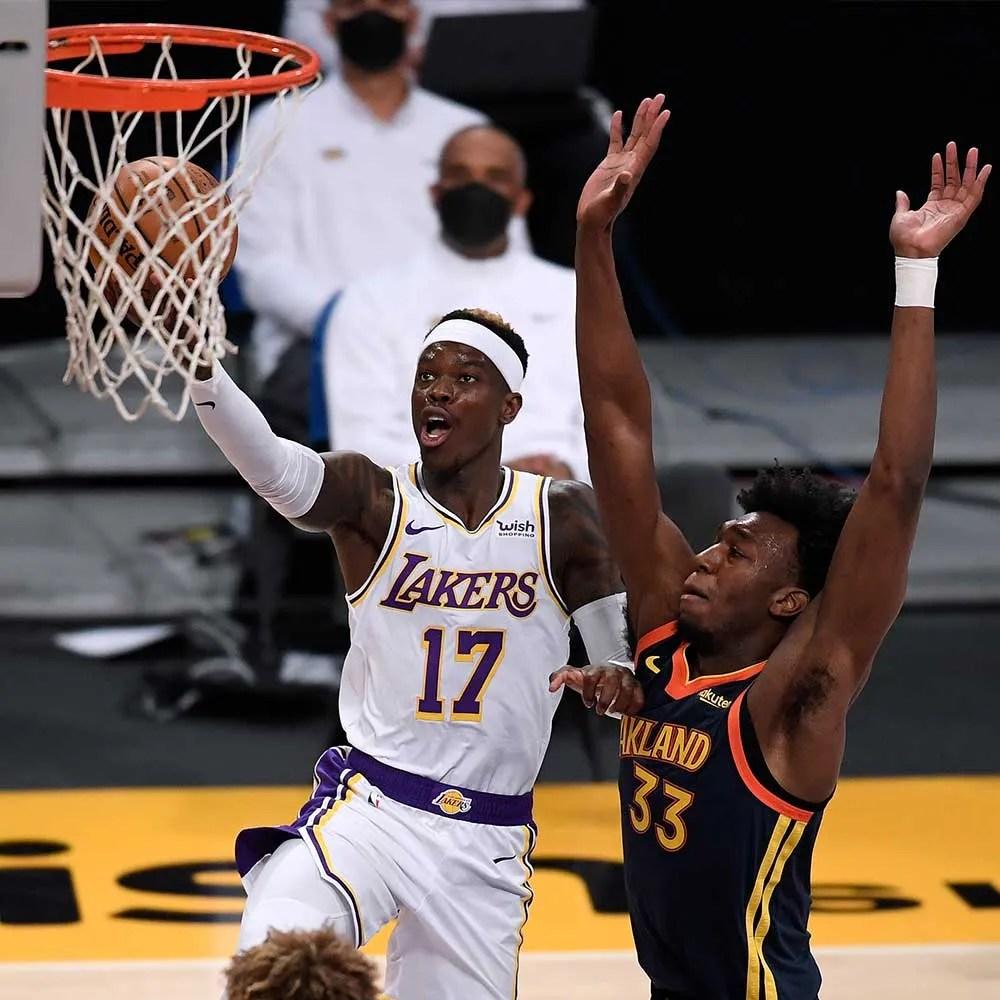 Dennis Schröder and James Wiseman, Los Angeles Lakers vs Golden State Warriors