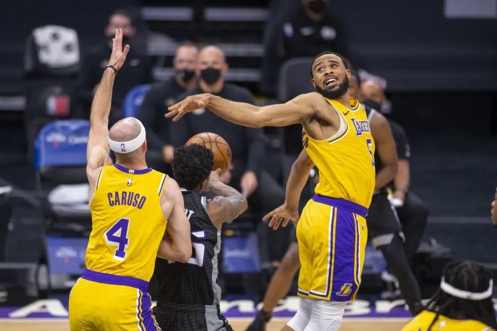 Alex Caruso, Talen Horton-Tucker and Delon Wright, Los Angeles Lakers vs Sacramento Kings