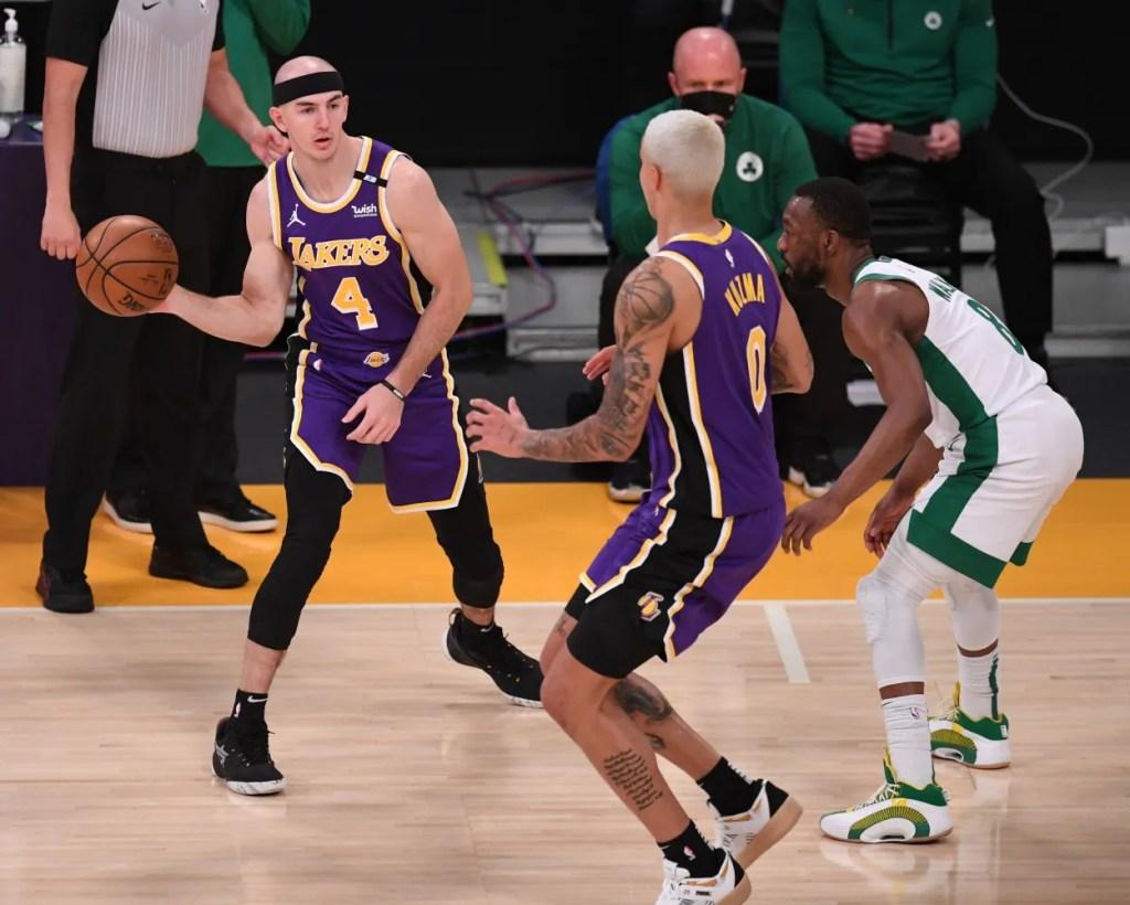 Alex Caruso and Kyle Kuzma, Los Angeles Lakers vs Boston Celtics
