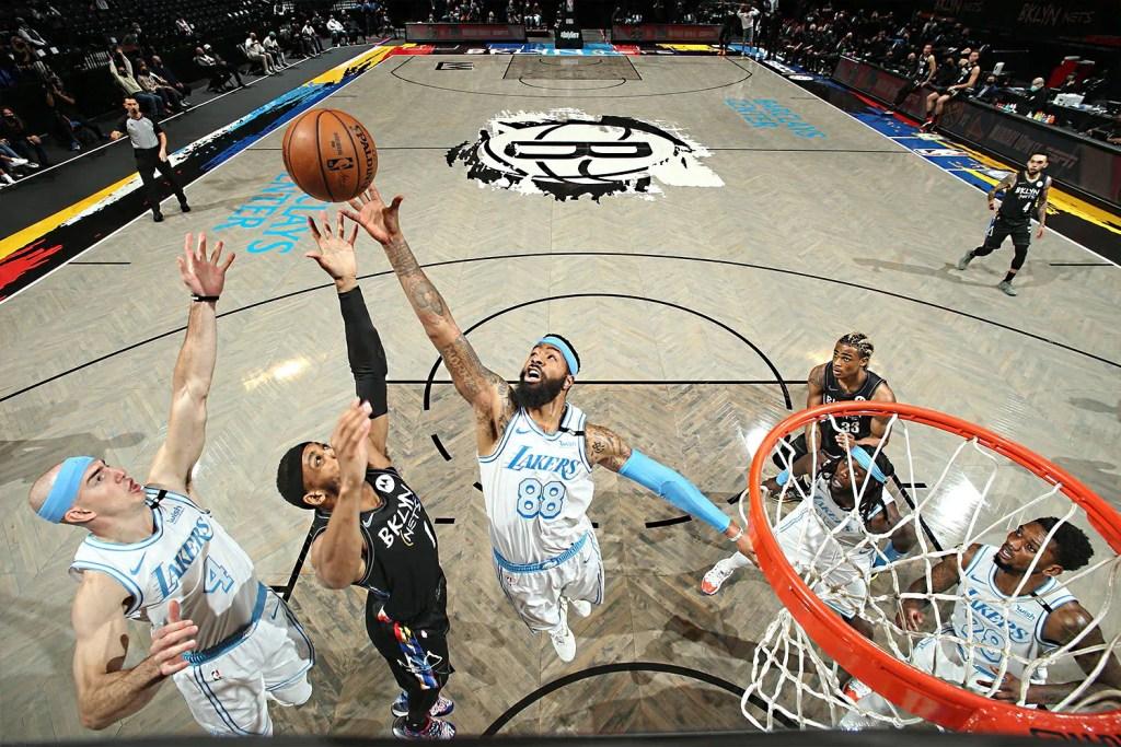 Alex Caruso and Markieff Morris; Los Angeles Lakers vs Brooklyn Nets