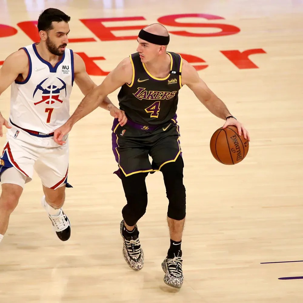 Alex Caruso and Facundo Campazzo, Los Angeles Lakers vs Denver Nuggets