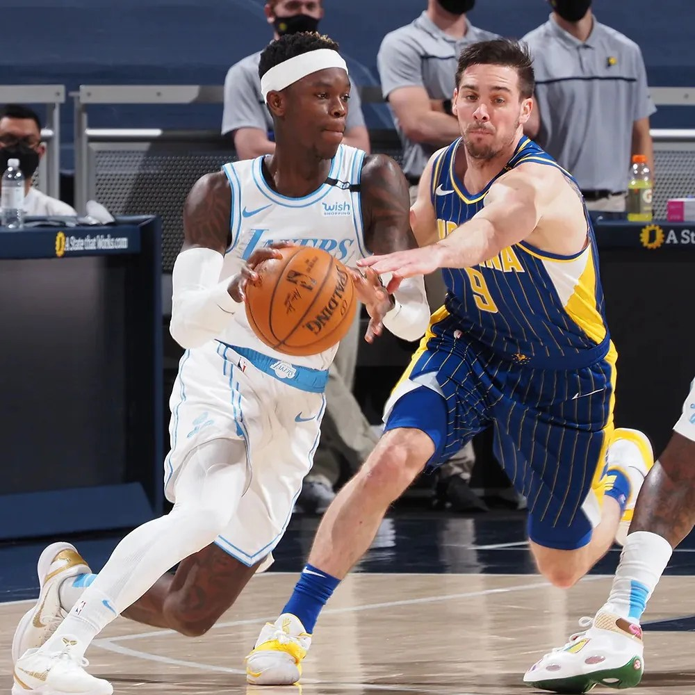 T.J. McConnell and Dennis Schröder, Los Angeles Lakers vs Indiana Pacers