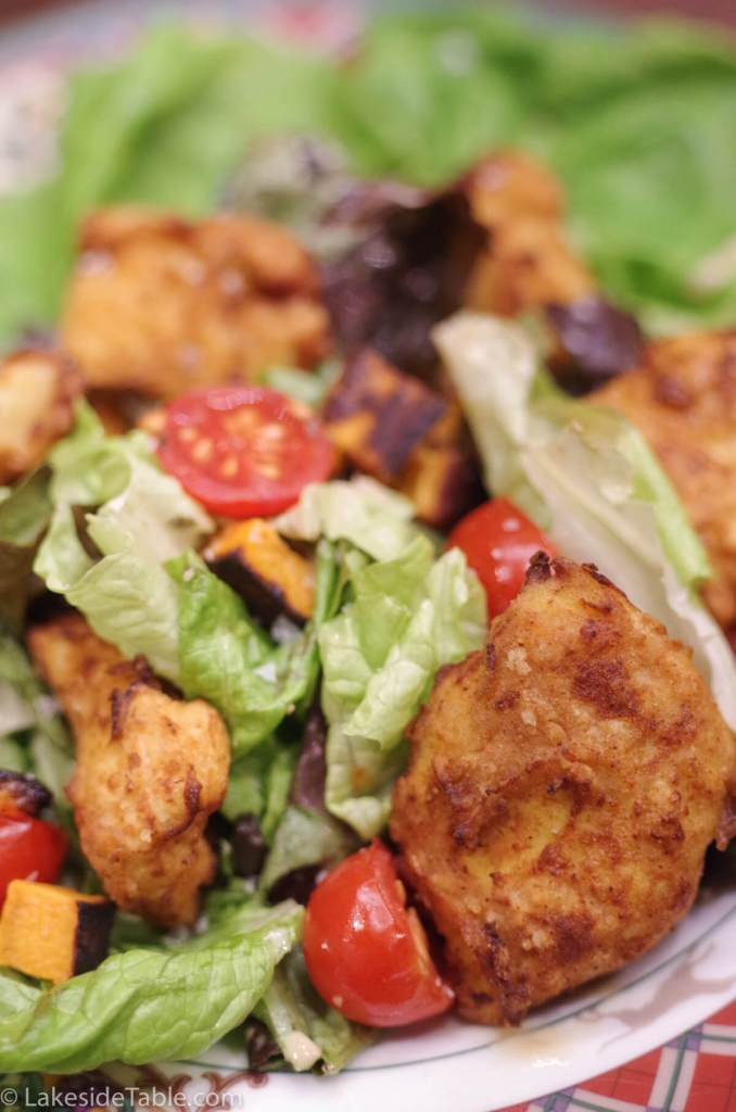 Fried Chicken Salad a gluten free recipe - Cold crisp salad and hot fried chicken. The best of both worlds! | www.lakesidetable.com