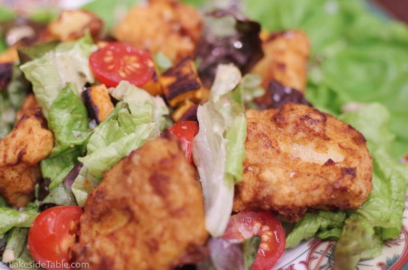 Fried Chicken Salad - Cold crisp salad and hot fried chicken. The best of both worlds! Lunch recipes   www.lakesidetable.com