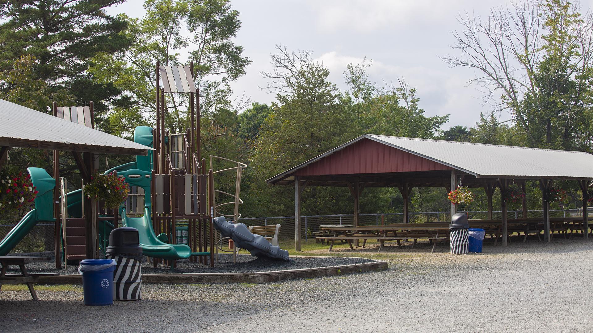Pavillion and playground at Lake Tobias Wildlife Park