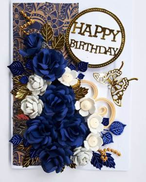 Blue & White Birthday gift card with box
