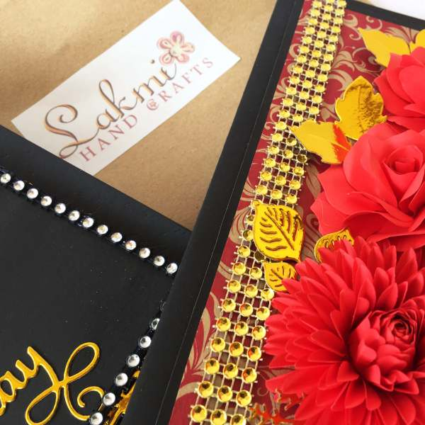 Birthday card | Red rose unique greeting card | luxury handmade greeting gift