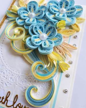 Light blue theme With love paper quilling card