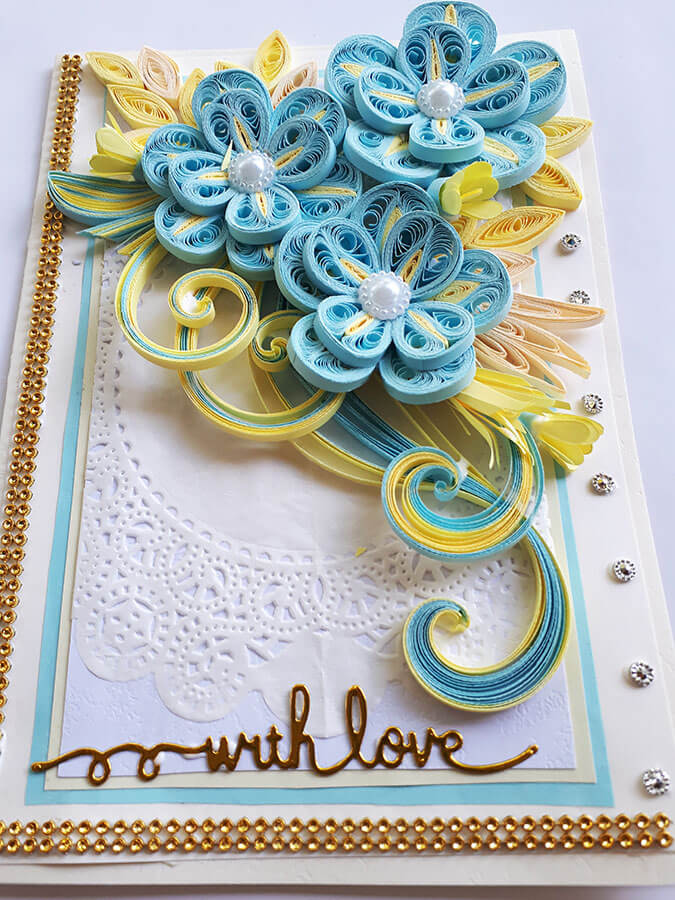 light blue theme with love paper quilling card  lakmi