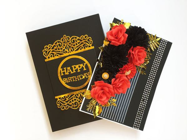 Black and red Birthday Box Card Picture 01