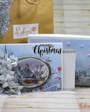 Christmas greetings | Snow theme merry Christmas box card