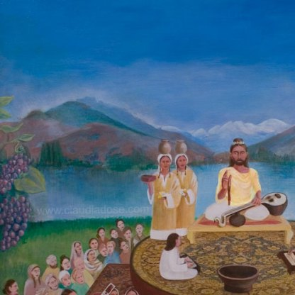 detail Abhinavagupta and the lineage of (latest) masters of Kashmir Shaivism, painting by Claudia Dose