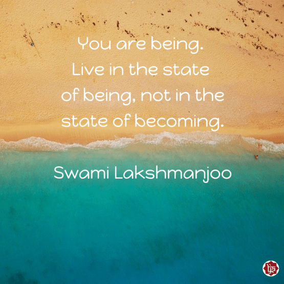 You are being. Live in the state of being, not in the state of becoming. ~Swami Lakshmanjoo