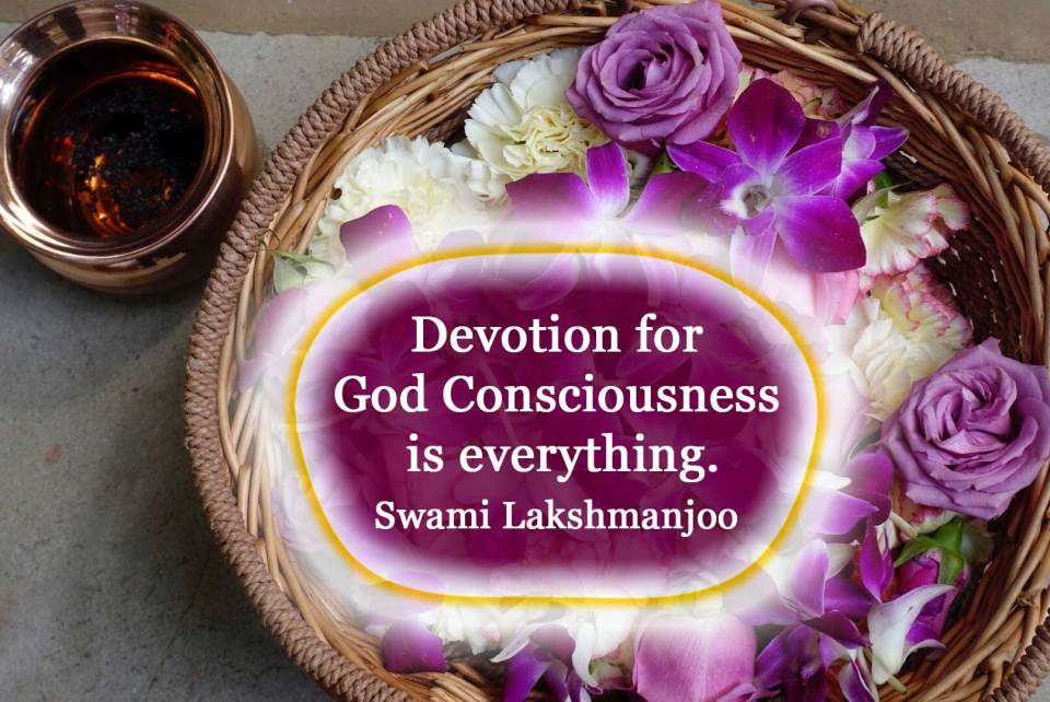 """""""Devotion or passion for God Consciousness is everything."""" ~Swami Lakshmanjoo"""