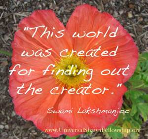 This world was created for finding out the creator ~Swami Lakshmanjoo