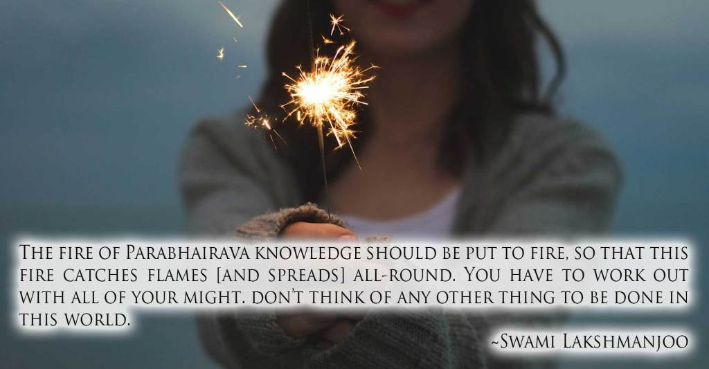 The fire of Parabhairava knowledge should be put to fire, so that this fire catches flames [and spreads] all-round. You have to work out with all of your might. don't think of any other thing to be done in this world. ~Swami Lakshmanjoo