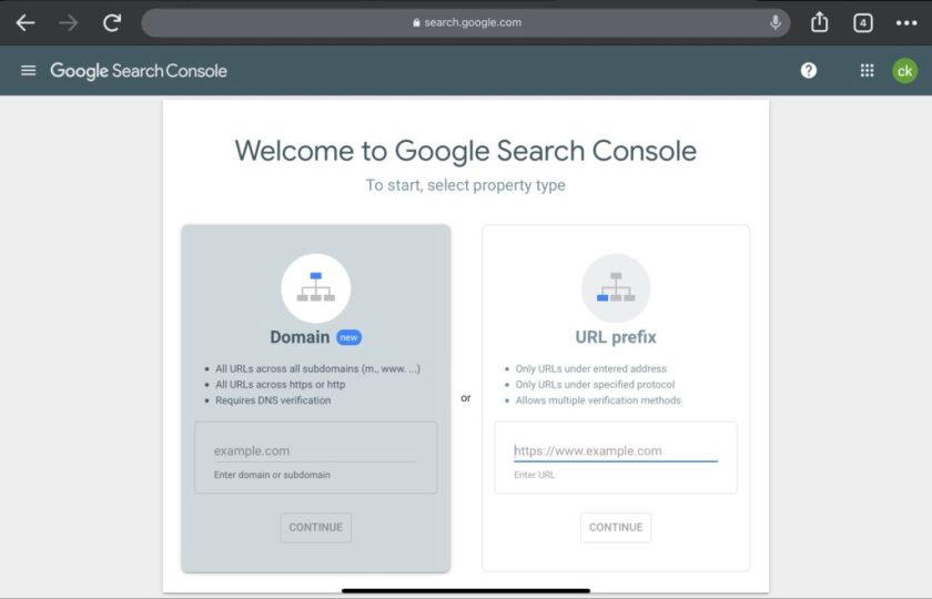 how to start google search console