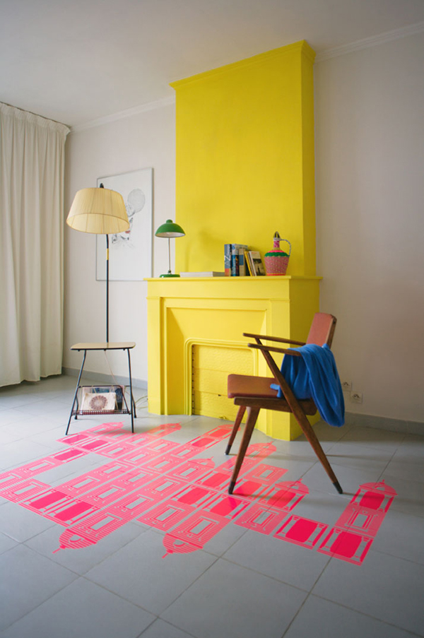 yellow fireplace | La La Lovely