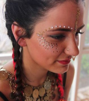 make carnaval com aplique de strass cristais festival 25