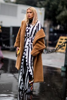 paris-fall-2018-street-style-brown-teddy-bear-coat-striped-kimono-black-printed-cowboy-boots