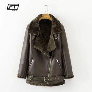Faux Lamb Leather Jacket Wool Fur Collar Suede