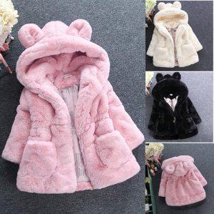 Faux Fur Fleece Coat Pageant Warm Jacket Xmas Snowsuit
