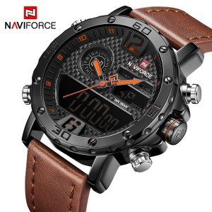 Men Watches Leather Sports Watch Digital Clock