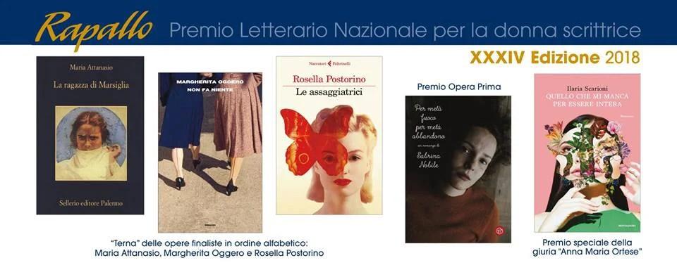 Le finaliste del Premio letterario Rapallo per la donna scrittrice 2018