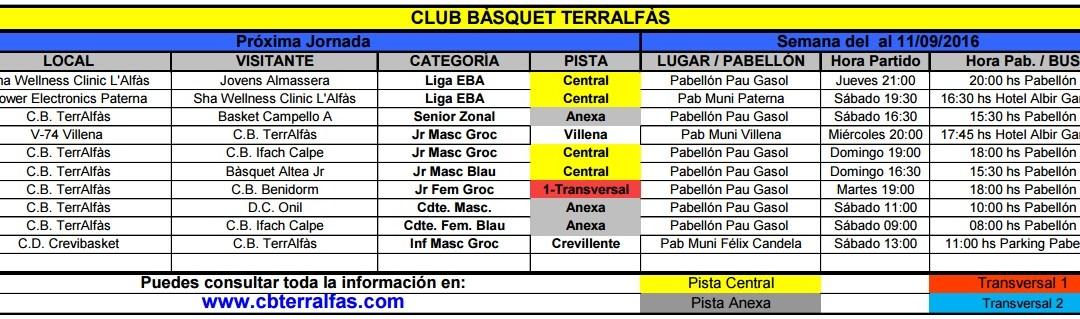 Partidos de Bàsket de los equipos de l'Alfàs del Pi