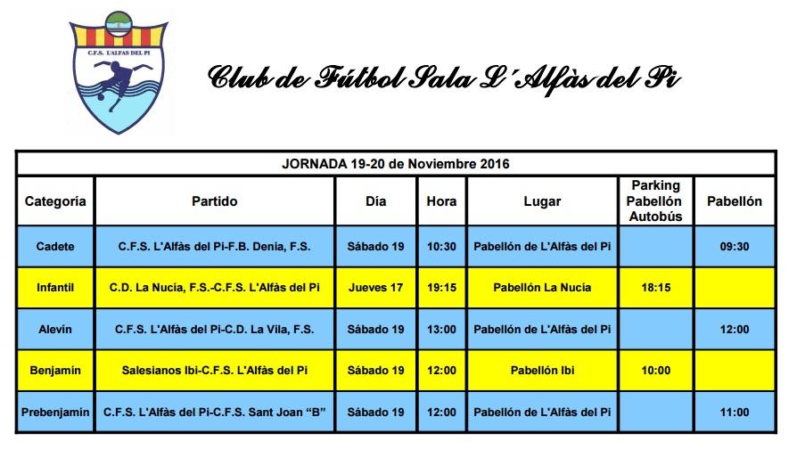 Partidos de Fútbol Sala de los equipos de l'Alfàs del Pi  para este fin de semana
