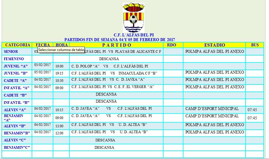 Partidos de fútbol de los equipos de l'Alfàs del Pi