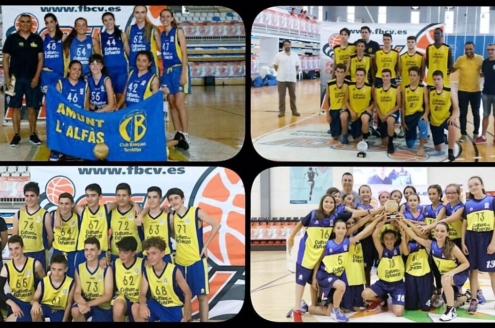 Excelente actuación de cuatro equipos de basket del CB  Terralfàs en las finales del torneo federación