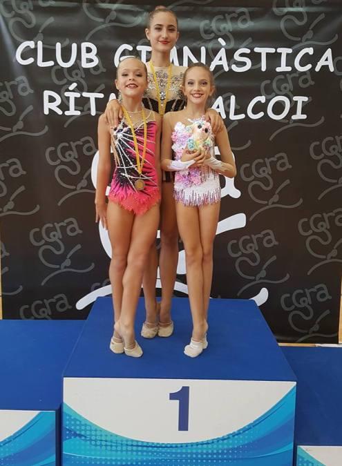 Tres gimnastas alfasinas destacan en el campeonato nacional de Alcoy