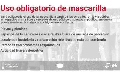 El Ayuntamiento de l'Alfàs informa del uso obligatorio de la mascarilla