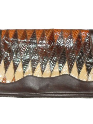 1970s brown and cream snakeskin and leather large clutch bag