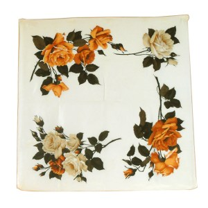 Silk scarf a stunning design of roses on a cream background