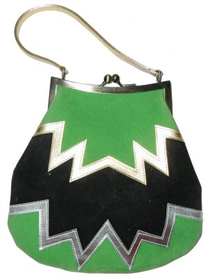 Retro handbag with a zig zag design in green black gold and silver