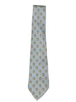 Hermes owl design silk tie