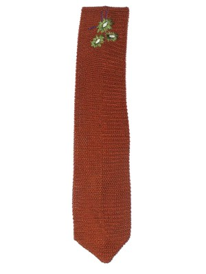Brown silk knit tie