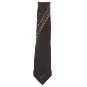 Retro silk tie with a brown and cream design