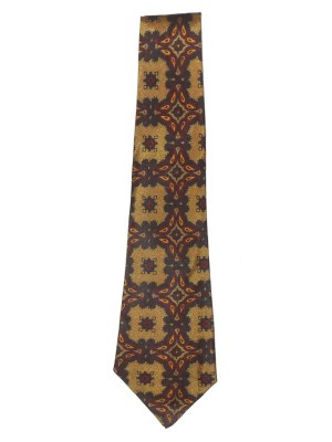 Sammy vintage tie with a design in gold, red, orange and black