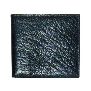 Arizona calf grained leather bifold black wallet