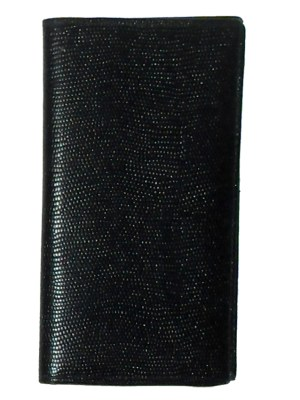 Black and grey grained leather wallet made in England