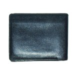 Black leather card and note bifold wallet