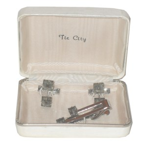 Tie City cufflinks and tiepin in silvertone metal with clear stones