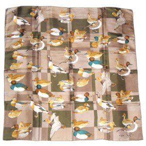 Battistoni Italy silk scarf with a design of ducks, drakes and mallards