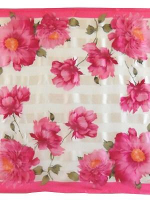 Oscar de la Renta pink floral design silk scarf