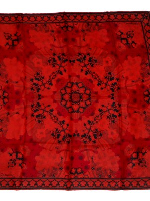 Jacqmar silk scarf with a design in shades of red and black