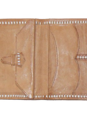 Light tan coloured tooled leather wallet with saddle stitch detail